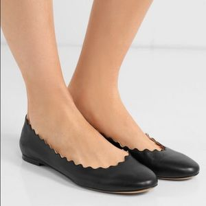 Chloe Black Leather Scalloped Ballet Flats 35 US 5